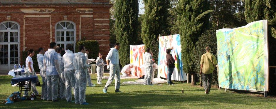 Activités ludiques dans le jardin de l'Orangerie de Rochemontès